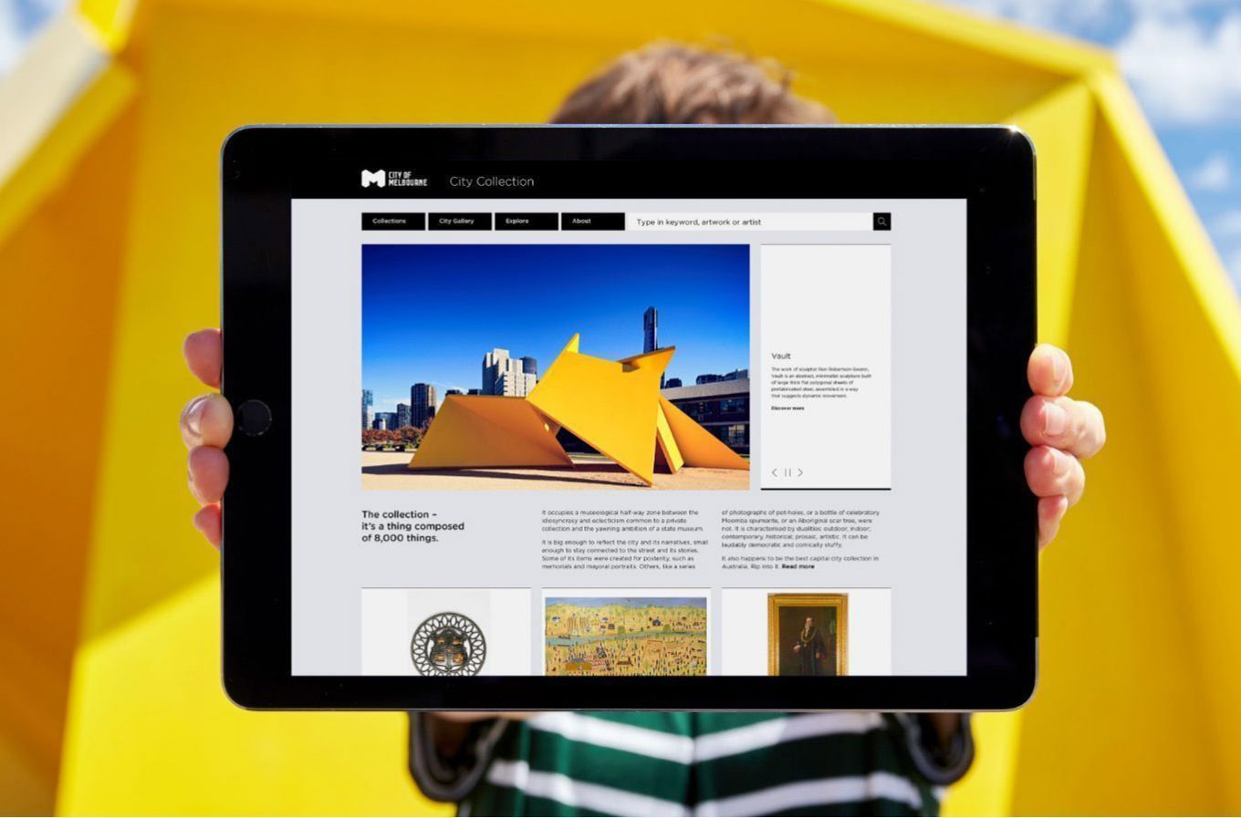 City Collection interface design shown on iPad